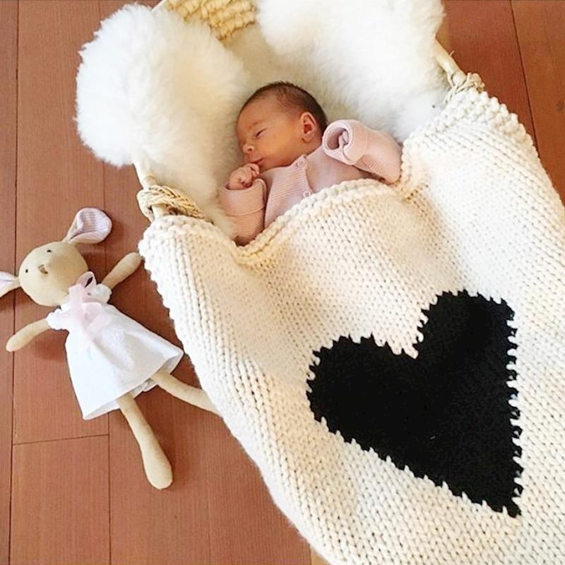 349f04ddb Knit Heart Blanket Winter Baby Blankets Receiving Swaddle Stroller ...