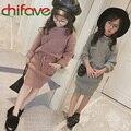 Chifave 2016 Nuevo Diseño de Otoño Muchachas de Los Cabritos Ropa Del O-cuello Bolsillos Cuello de Los Bebés Fija Pullover Sweater + Falda de La Cinta 2 colores
