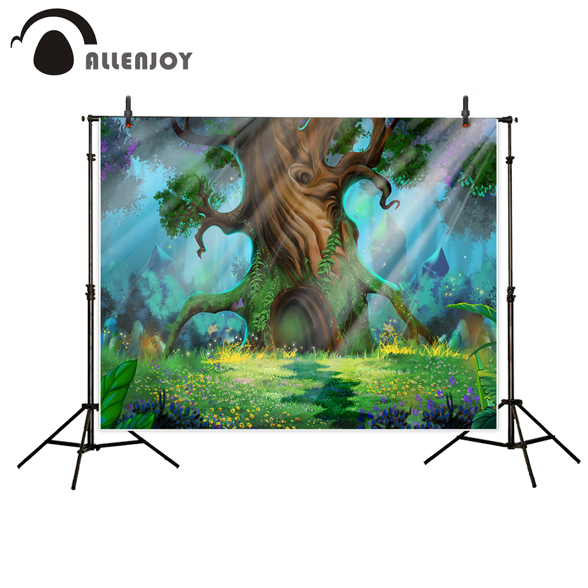 Allenjoy photography backdrop Fairy tale style big tree Lawn flower Wizard of the Sen background photo studio camera fotografica olga kholodova chloe the tale of a dead flower