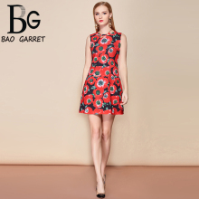 Baogarret 2019 Fashion Runway Summer Dress Womens Sleeveless Vintage Floral Print Beading Mini Elegant vestidos