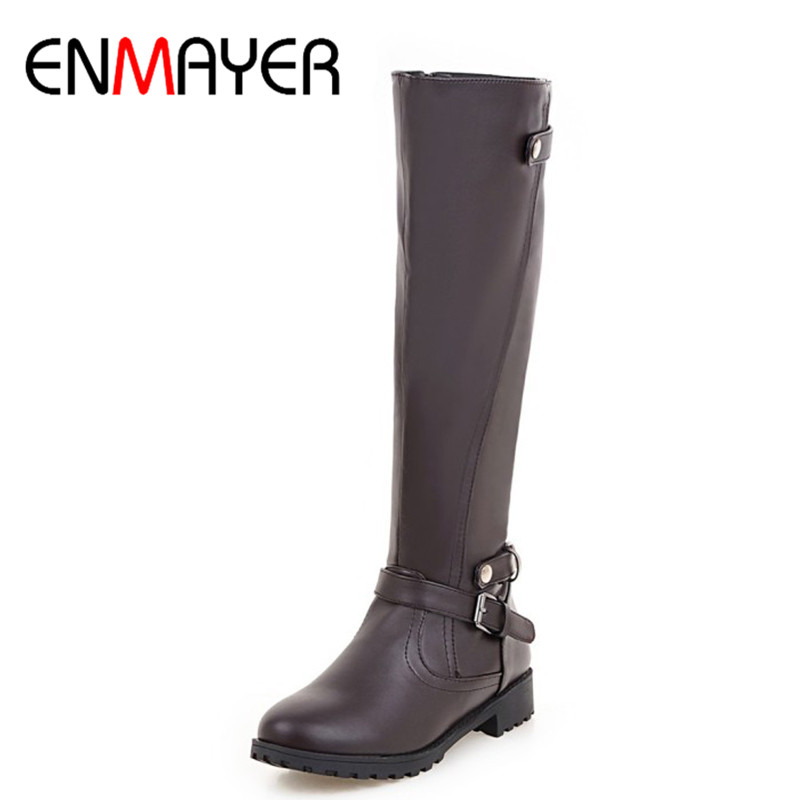 ENMAYER Knee-high Boots for Women Flats Shoes Woman Riding Boots Flats Shoe Large Size 34-43 Winter Boots Buckle Strap Ladies enmayer buckle strap round toe zippers high heels winter boots shoes woman sexy red shoes large size 34 43 knee hight boots