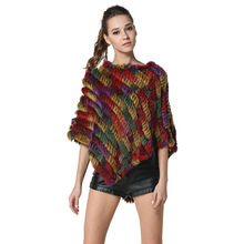 ФОТО cheap hot real knitted rabbit fur shawl womens classic casual rabbit fur poncho pashmina lx00100
