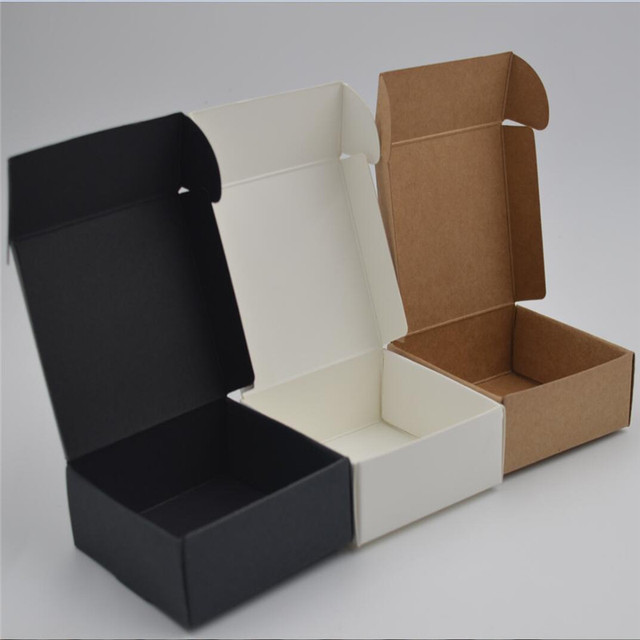 10pcs 11 Sizes Small Kraft Paper Packaging Box Black White Paper Cardboard Gift Boxes For Jewelry Mini Brown Paper Soap Box
