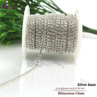 Discount 10yards Roll SS6 SS12 2 0mm 3 0mm Clear Crystal Silver Base Rhinestone Chain For