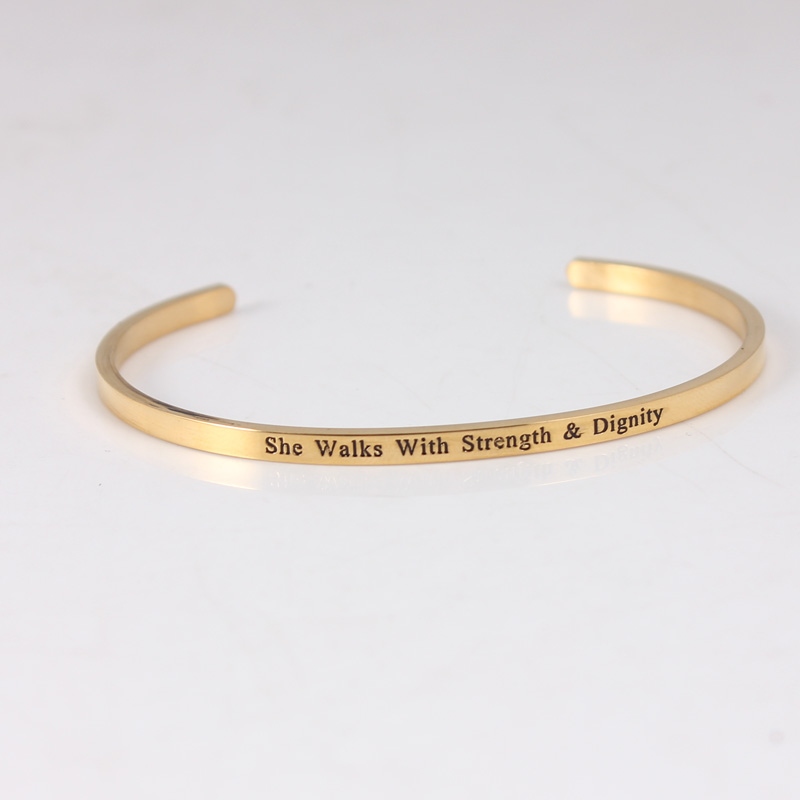 Bracelet de barre d'acier inoxydable de la couleur 316L d'or bracelets pour femme de Mantra de manchette d'inspiration Positive