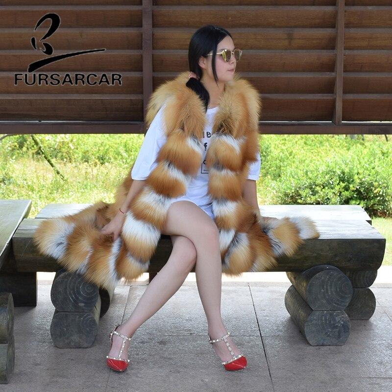 O cou Femmes Véritable Renard Luxe De Gilet Les Réel Long 120 Cm Fourrure Or Naturel Fursarcar D'hiver Pour fUxBwf