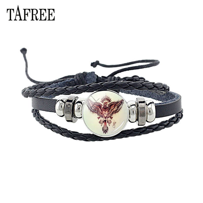 TAFREE Hot Selling Weave Leather Eagles Bracelet Adjustable Black Rope Glass Gem Animal Pattern Charm Punk Jewelry J342