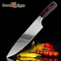 GRANDSHARP 8 дюймов Высокое качество шеф-повар нож AUS-8 японский Нержавеющая Сталь Pakka ручка кухня шеф-повар нож Новый кухонная утварь Новый