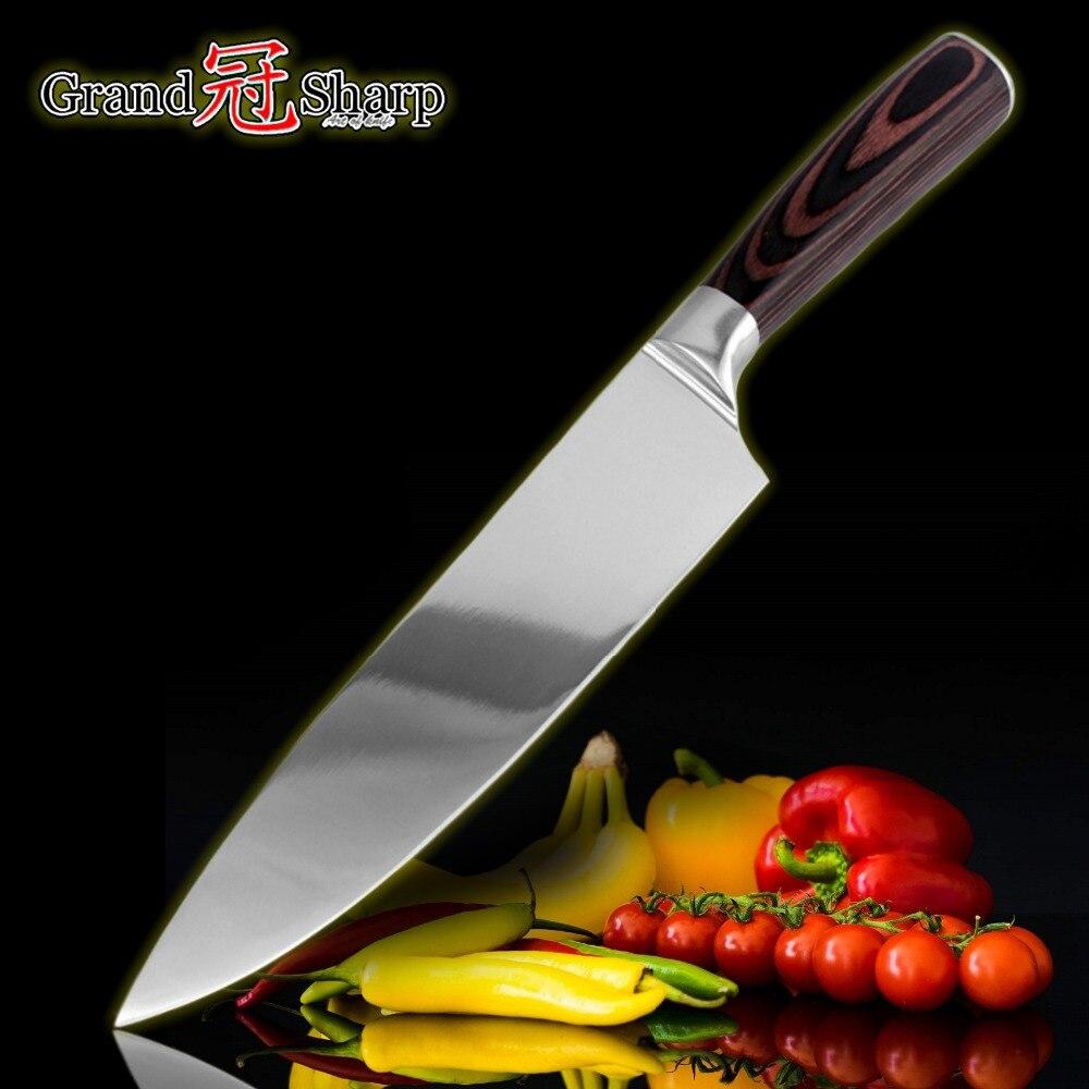 GRANDSHARP 8 Zoll Hohe Qualität Chef Messer AUS-8 Japanischen Edelstahl Pakka Griff Küche Kochmesser NEUE Kochen Tools NEUE