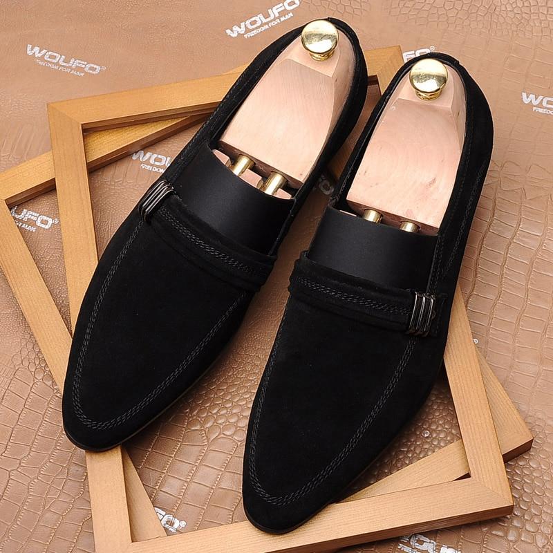 Nubuck Nova outono Homem on Genuíno Sapatos Couro Pjcmg Dedo De Black Cavalheiro Plana Preto Slip Padrão Moda Casuais Clássico Apontado Primavera 8dnw6tq