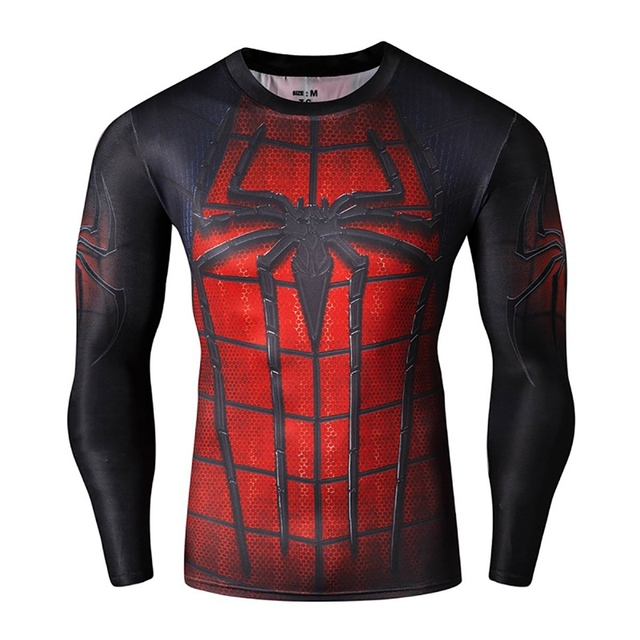 Spider Man 3D Printed T-Shirts Men Compression Shirts Long Sleeve Fitness Body Building Male Crossfit Tops