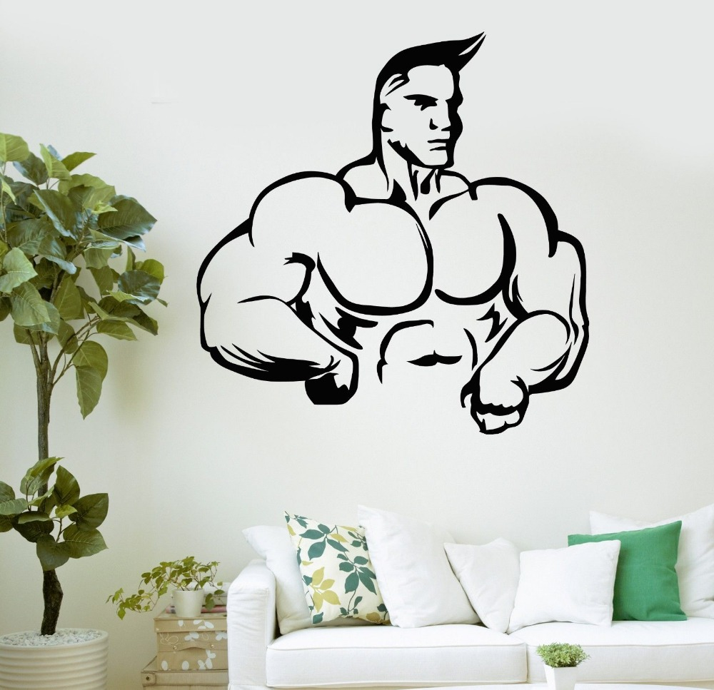 Wall Decal font b Bodybuilding b font font b Fitness b font Sport Muscled Gym Vinyl