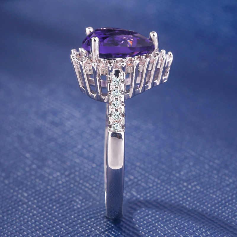 โรแมนติกคนรักสีม่วงขนาดใหญ่แหวนหัวใจ 925 Anillos Silver Inlay CZ แหวนหมั้น Vintage งานแต่งงานแหวน