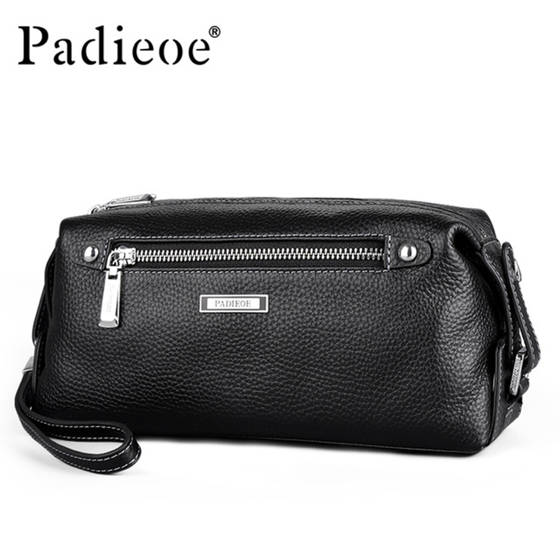 PADIEOE Famous Brand Business Oil Wax Men Luxury Genuine Leather Wallet Male Long Double Zipper Clutch Bags Wallets Handbags 2016 famous brand new men business brown black clutch wallets bags male real leather high capacity long wallet purses handy bags