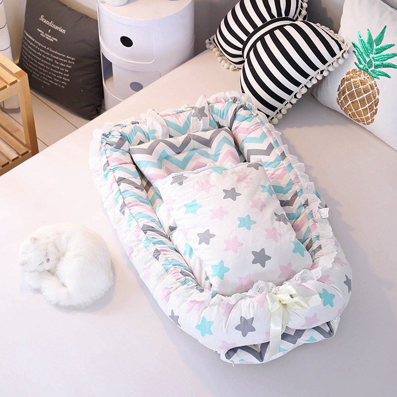 2018 New Baby Nest Bed Toddlers Portable Baby Crib for Newborn 100% Pure Cotton Baby Cot Toddlers Washable Bumper 0-2Y pure cotton baby nest bed cradle cot travel crib for newborns portable baby crib sets with pillow washable