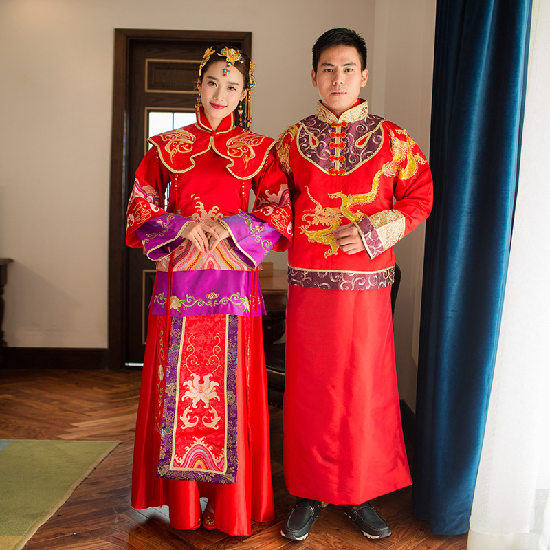Chinese Couple Wedding Gown Bride Wedding Dress Ancient Groom Dragon Robe Cheongsam Man Woman Embroidered Red Couple Clothes 03 red gold bride wedding hair tiaras ancient chinese empress hat bride hair piece