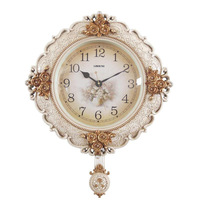 TUDA 2017 Rose Rural Europe Type Restoring Ancient Ways Mute Wall Clock Creative Sitting Room Adornment