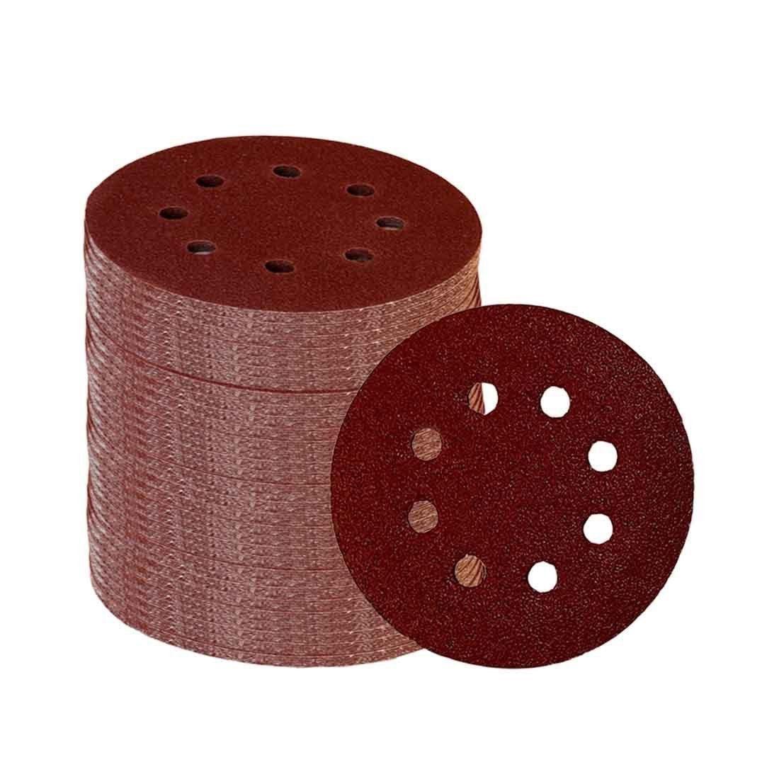 60 peças 8 furos 5 Polegada discos de lixamento gancho e laço 60/100/180/240/320/400 grit lixa sortido para lixadeira orbital aleatória