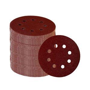 Image 1 - 60 Pieces 8 Holes 5 Inch Sanding Discs Hook and Loop 60/100/180/240/320/400 Grit Sandpaper Assortment for Random Orbital Sander