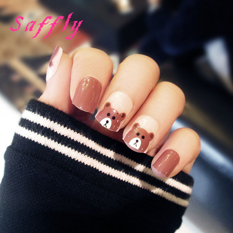 Nail Tools Fast Deliver Saffly 24pcs/set Lovely Small Brown Bear Printing Nail Tips False Nails Fashion Style Short Fake Nails Free Glue Sticker Pleasant To The Palate Beauty & Health