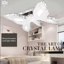 Бабочка из нержавеющей стали Творческий кристалл K9 лампы Плавная затемнения потолочные светильники дети гостиная спальня СВЕТОДИОДНЫЕ лампы