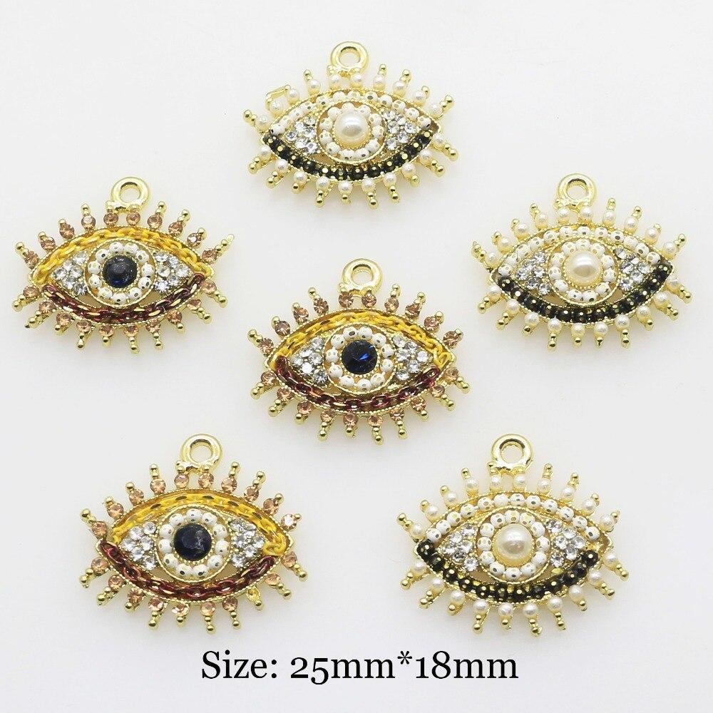 Модные 25 * мм 18 мм двухцветные конский глаз металлические кнопки алмазные свадебные волосы бант Цветок ccenter diy аксессуары ручной работы 10 шт.