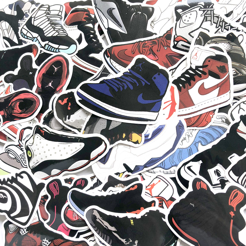 100Pcs/Lot Basketball Stars Sneakers Stickers For Skateboard Travel Case Laptop Notebook Guitar Car Vinyl Dope Sticker Decals