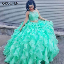 9407c90343f Two piece Turquoise Quinceanera Dresses Prom Beaded Crystal Organza Ball  Gowns Sweet 16 Gowns Formal Dress for 15 year ballkleid