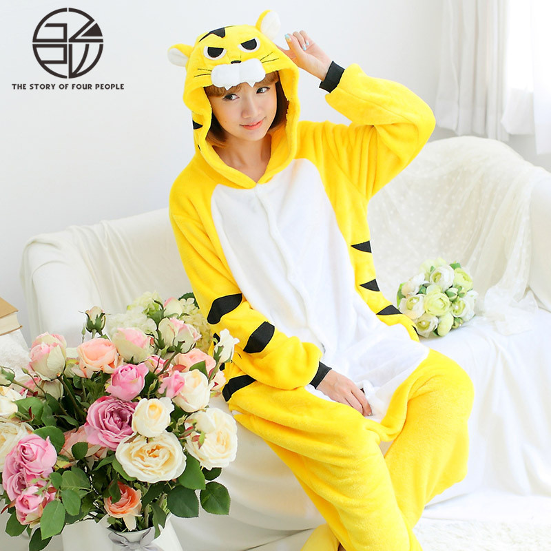 Gzpw cosplay tiger 2018 men and women plush stitching pajamas fashion lovely winter couple pajamas S-XL