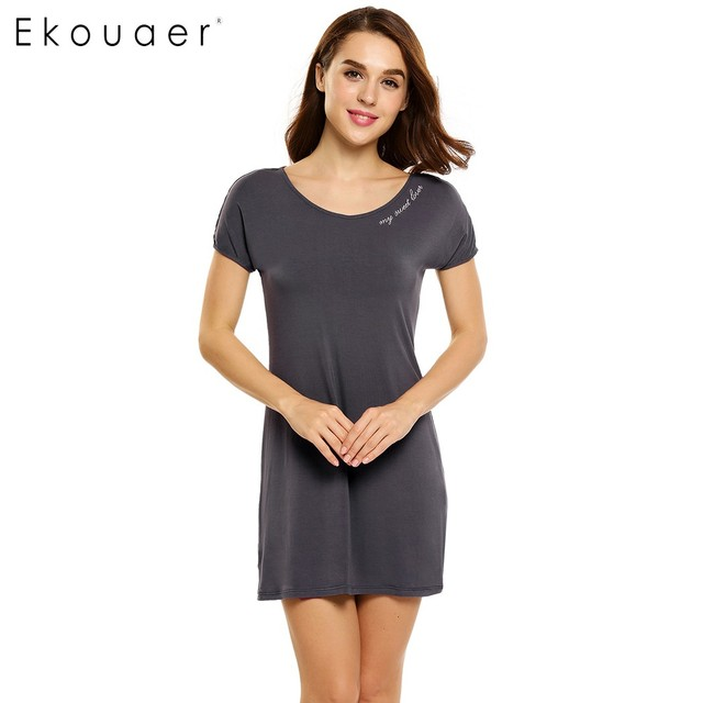 Ekouaer Cotton Nightgown Women Short Sleeve Letter Embroidery Nightdress  Casual Sleepwear Sleep Lounge Dress Solid Home Dress bd94639ba