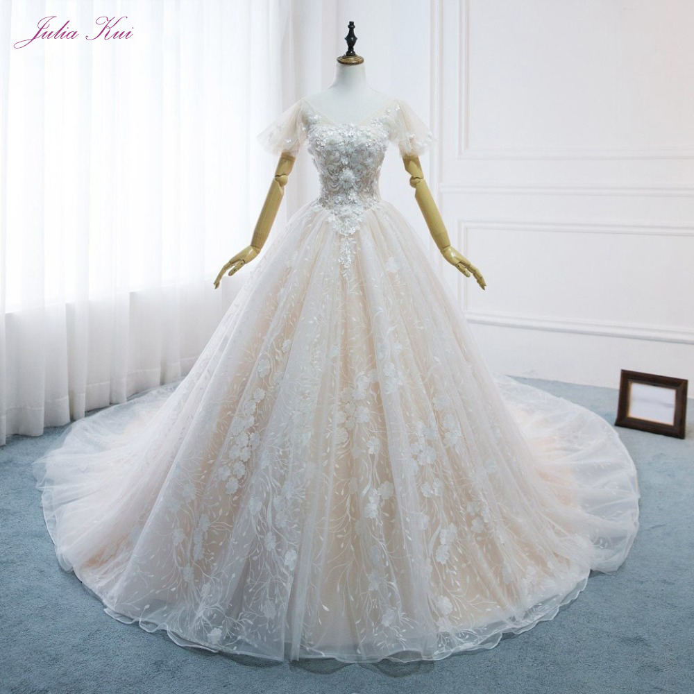 Julia Kui Champagne Satin Color Of A Line Wedding Dress With Chapel Train Short Sleeve Wedding