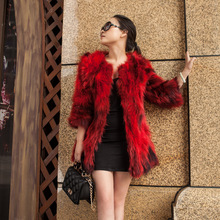2016Winter new genuine raccoon fur coat fashion ladies big yards seven points sleeve sweater custom design free shipping