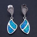 100% 925 Sterling Silver Best Selling Fine Jewelry Long  Blue Fire Opal Long Drop Earrings Jewelry for Women