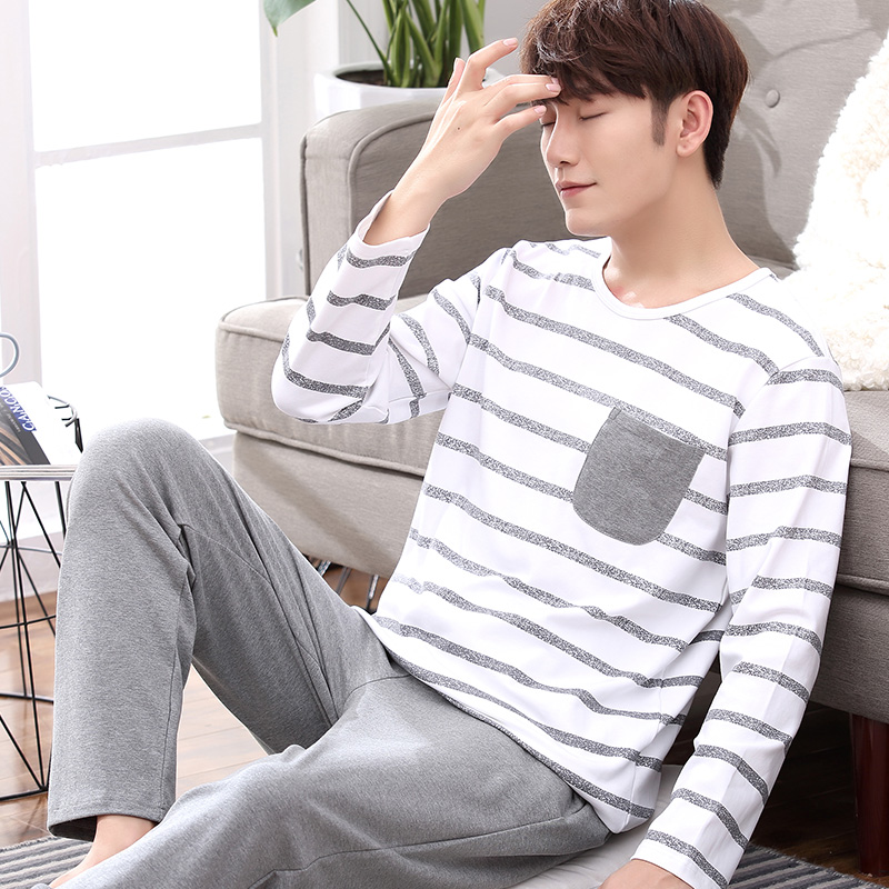 2020 Bamboo Fiber T Shirt Full Sleeve Sets Young Man V Collar Pyjamas At Home & Pajamas Sets Short + T Shirt
