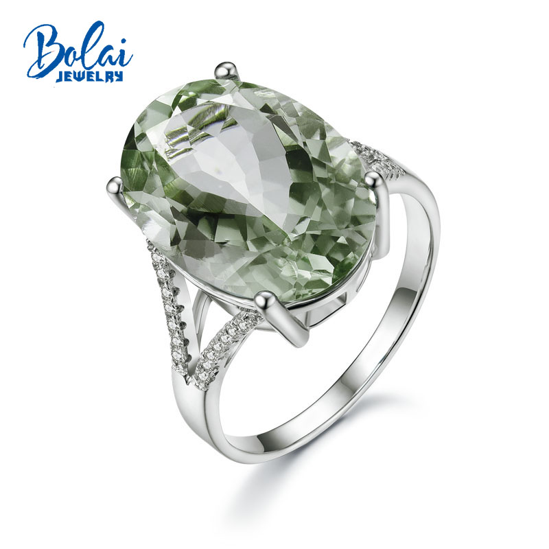 Bolaijewelry Big oval 13 18mm 13ct green amethyst gemstone Ring 925 sterling silver fine jewelry nice