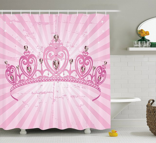 Queen Shower Curtain Childhood Theme Pink Heart Shaped Princess Crown On Radial Backdrop Girls Room Bathroom Decor Set