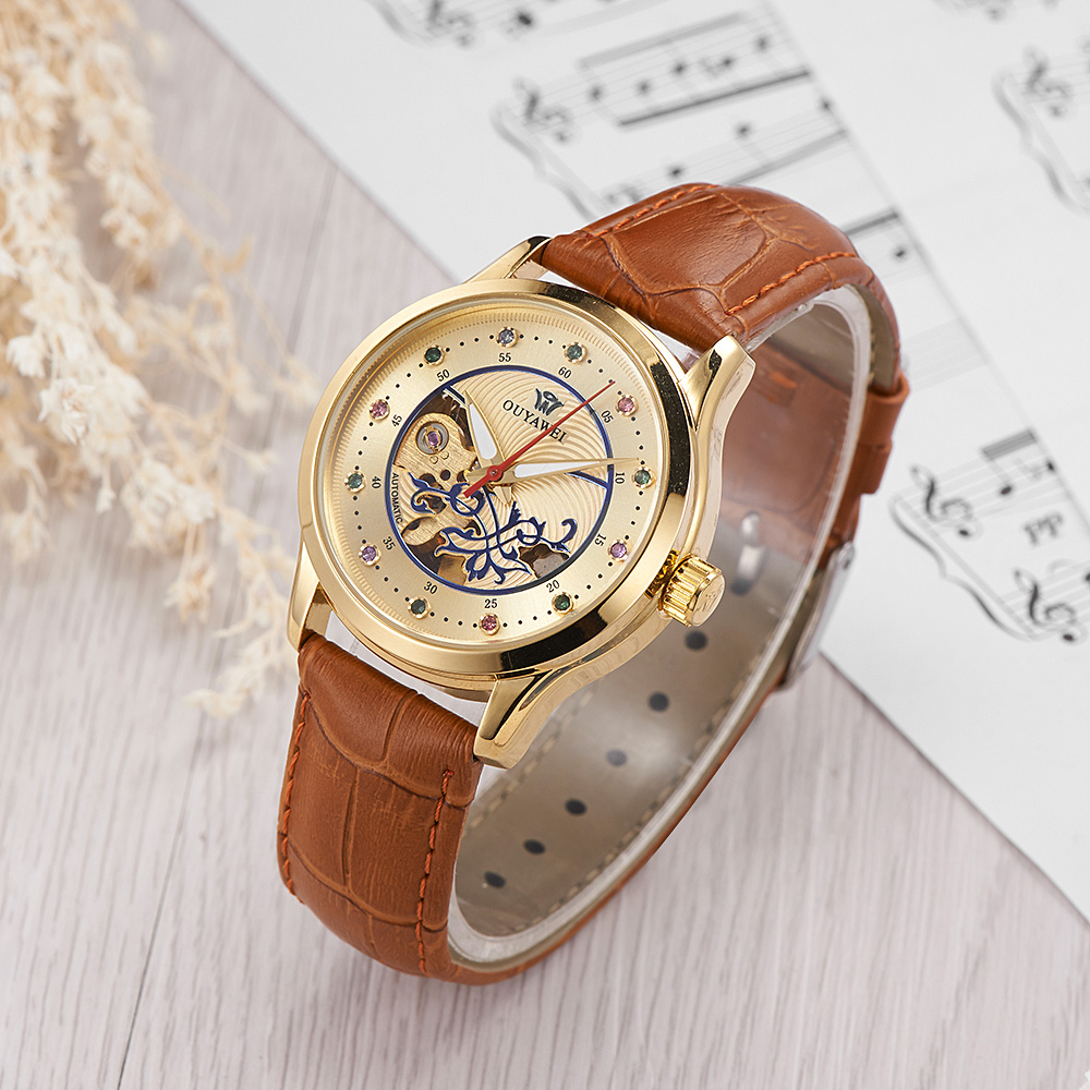 Reloj Mujer OYW Fashion Woman Watch Mechanical Automatic Movement Wristwatch Brown Leather Band Female Mechanical Watch Relogio
