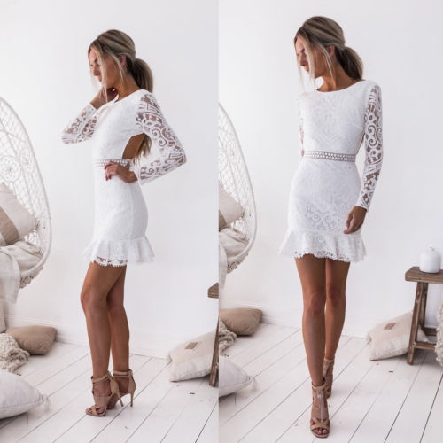 Sexy Slim Lace Dress Women Backless Lace Trumpet Dresses Fashion Long Sleeve Bodycon Halter Bandage Mini Dress