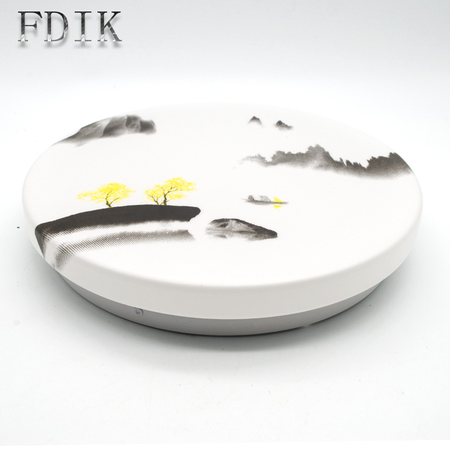 Modern minimalism Ultra thin LED Ceiling Lights Chinese Ink Painting Circular Acrylic Ceiling lamp 12W 18W 24W Living room Porch