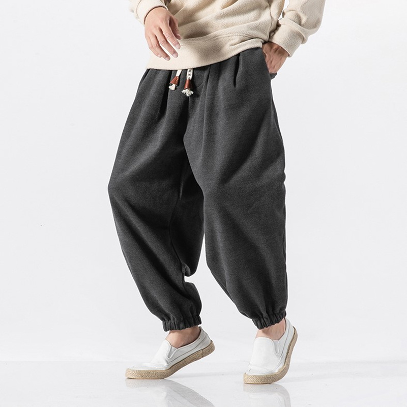 Streetwear Loose Joggers Men Japanese Harajuku Warm Winter Harem Pants Hip Hop Modis Baggy Pants Fashion Bloom Pants Sweatpants