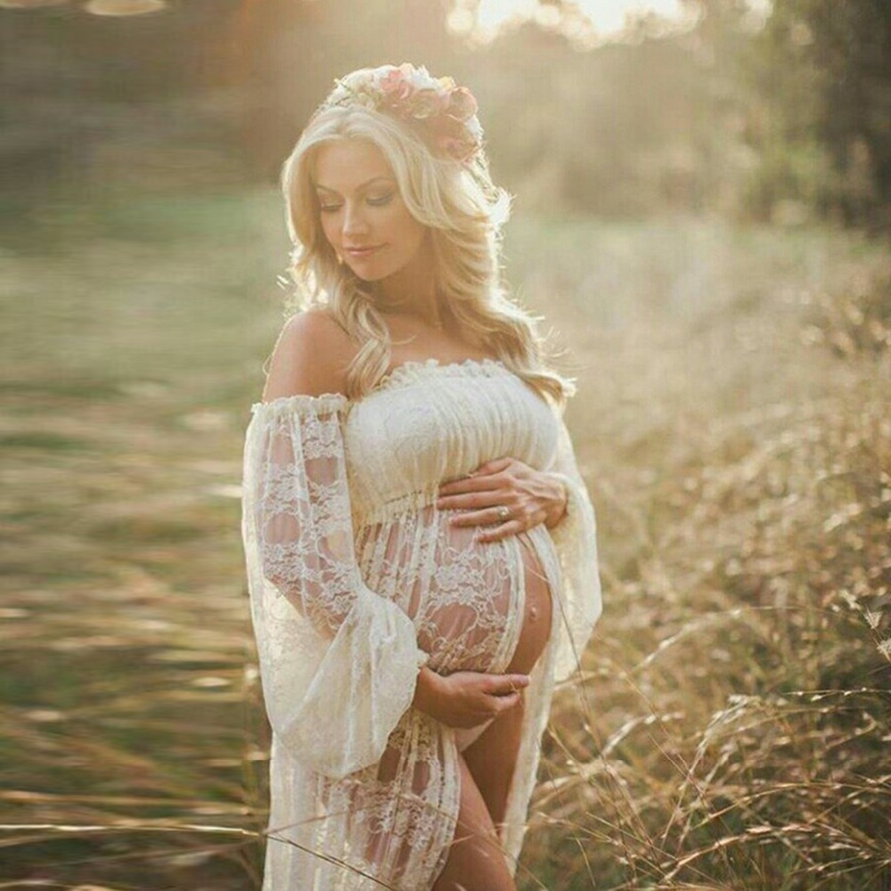Image 4 - Maternity Photography Props Pregnancy Fancy Dress Lace Robe Strapless Maxi Gown Maternity Dress Split Front Women Long Dress-in Dresses from Mother & Kids