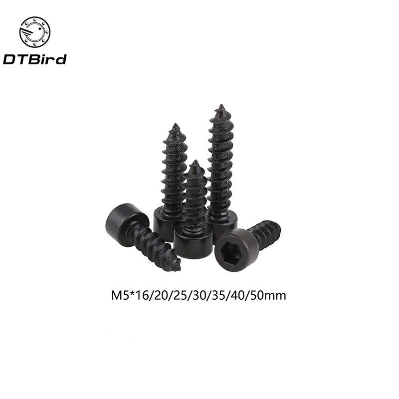 100pcs M5 Carbon Steel With Black Hexagon Socket Cap Head self tapping screw Model Screw M5*(16/20/25/30/35/40/50) mm стоимость