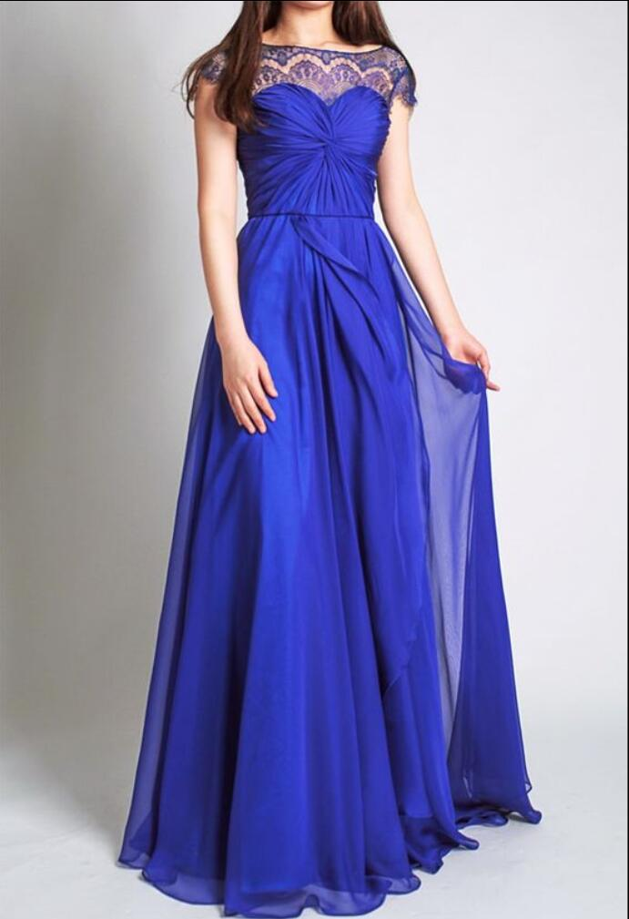 Royal Blue Long Modest Bridesmaid Dresses With Sleeves Lace Chiffon A Line Summer Beach Country Wedding Party Formal In From