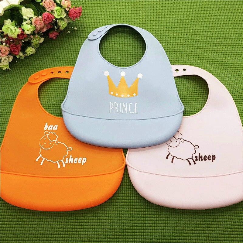Cartoon Crown Silicone Baby Bibs Waterproof Bibs Baby Boy Girl Apron Feeding Baby Bibs Burp Cloths for Children Feeding Care(China)