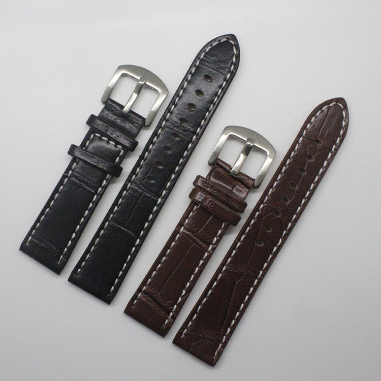 Clear Stocks Longer Brown Black Crocodile grain cowhide Watchband Straps With White Stitched Watches Accessories 20mm  Promotion