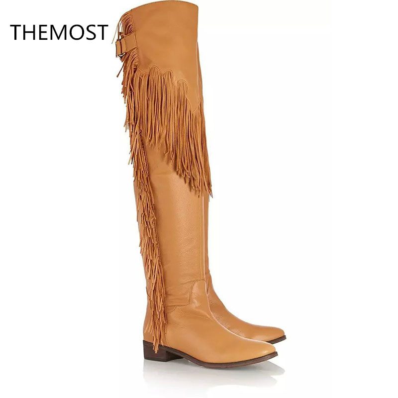 THEMOST Knee-high boots Female boots Fringe The PU fabric 2 colors to choose from The European and American style themost sexy fish mouth hollowed out roman sandals fashion foreign trade european and american style four colors can be selected