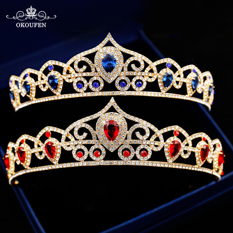 Queen Quinceanera Wedding Tiaras Women Hair Jewelry Gold Crowns 2018 Red Blue Rhinestone Crystal Bridal Headbands Headpieces