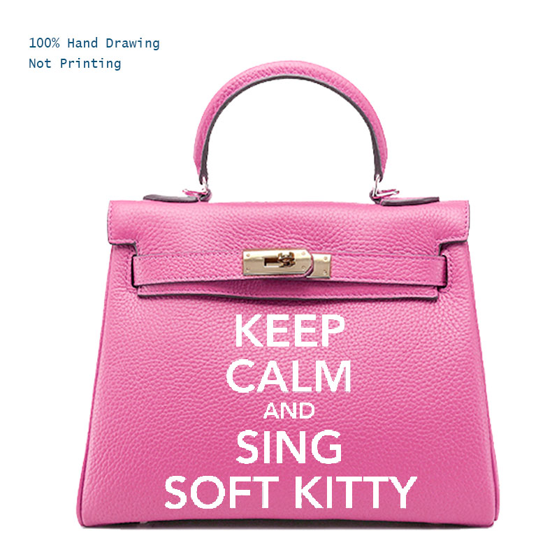Women bags handbags Genuine Leather totes women's Fun Bags Name bag Customizable Personal Name keep calm and sing soft kitty румяна chantecaille cheek shade refill fun цвет fun variant hex name f69988