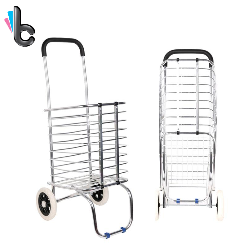 Foldable Shopping Trolley Supermarket Supply Aluminum Alloy Shopping Cart Storage Furniture Two Wheels carrello juki mechanical feeder cart storage trolley cart