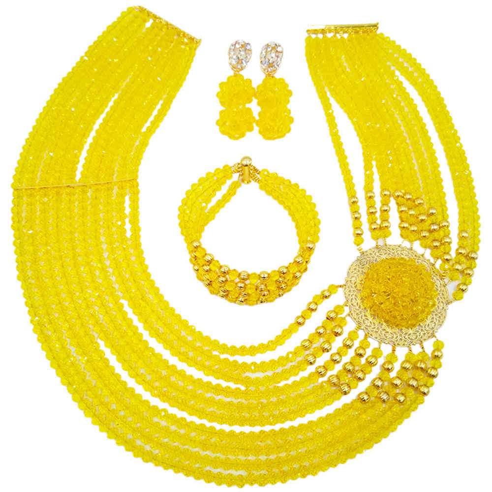 Лидер продаж! Новый желтый кристалл костюм в нигерийском стиле свадебные туфли в африканском стиле Бусины Jewelry Ожерелья для мужчин комплект nc1265